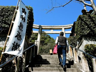 Lots of steps up to the shrine