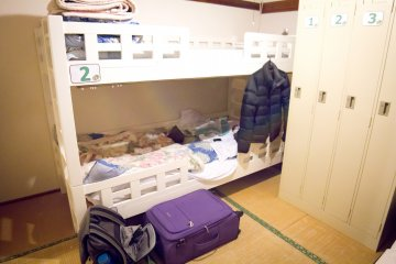 The bunk bed in the room with plenty of space