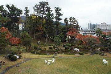 View of Horyuin Garden from balcony of Jinpukaku