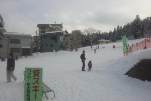 The base of the resort with a couple of warm restaurants for parents to take a break while the kids roll in the snow