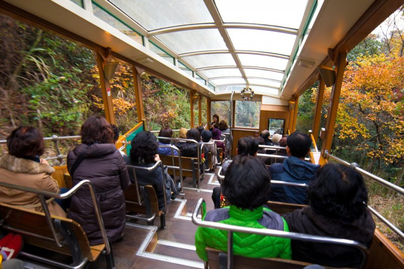Riding the cable car to the top of Mt Rokko