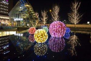Christmas lights on display outside Osaka and Umeda Station