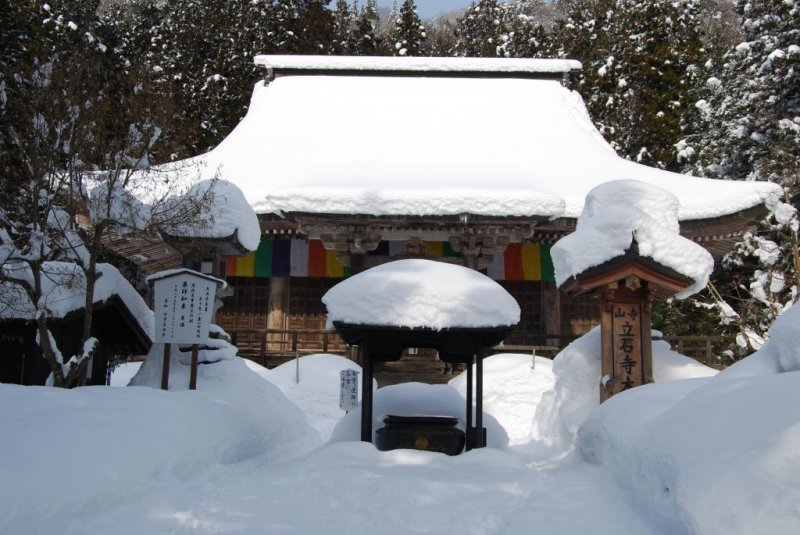Konpon-chodo, Yamadera's main temple hall, is located at the foot of the mountain