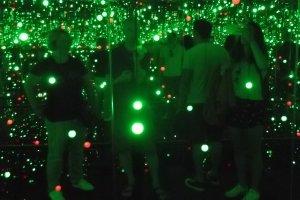 Inside a Yayoi Kusama installation