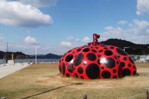A Yayoi Kusama pumpkin on Naoshima