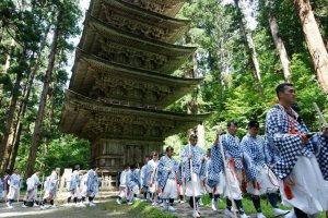 Haguro yamabushi on their way to the top of Mount Haguro