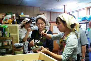 Makiko and Yuki Hoshino, proprietresses of Daishobo shukubo, prepare Shojin Ryori for their guests every day