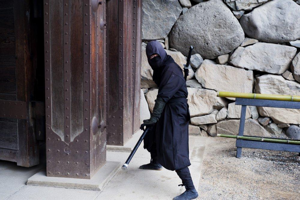 A ninja welcomes visitors at the entrance