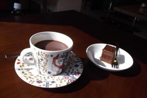 My hot chocolate and mini-cake