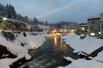 Hijiori Onsen as the evening approaches