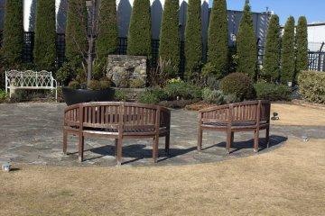 冬季草坪与长椅