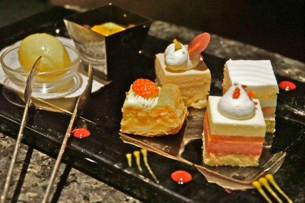 Gourmet desserts at Sky Lounge Stellar Garden in Tokyo.