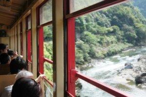 Sagano Romance Train in Kyoto.