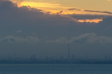 The Tokyo Skytree seen in the distance from the Chiba Port Tower
