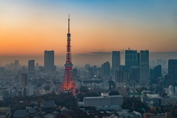 The Tokyo Tower at sunset, as seen from the Tokyo World Trade Center