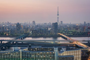 Tokyo city and Tokyo Sky Tree view taken from Tower Hall Funabori observatory deck