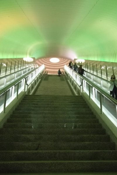 The escalator leading up to MOA Museum of Art