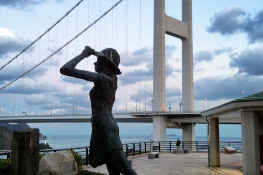 A statue in front of the Kurushima Straits Viewing Pavilion