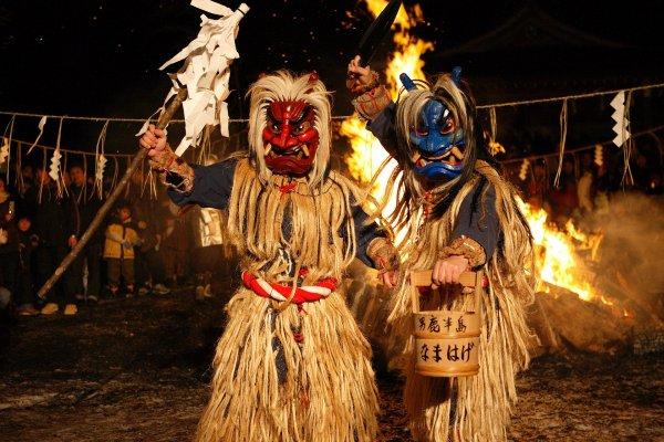 The Namahage performing a dance ritual