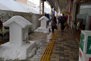 Several snow shrines are built along the main streets