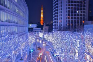 Illuminated street at Roppongi Hills