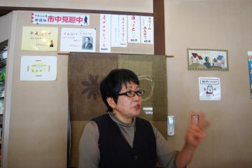 Owano-san, the owner of Orizuru restaurant, explains her food philosophy to any customer willing to listen