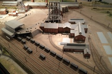 Model of Manda Coal Mine site, rail track used to stretch up to a port