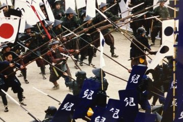 Mock samurai battle
