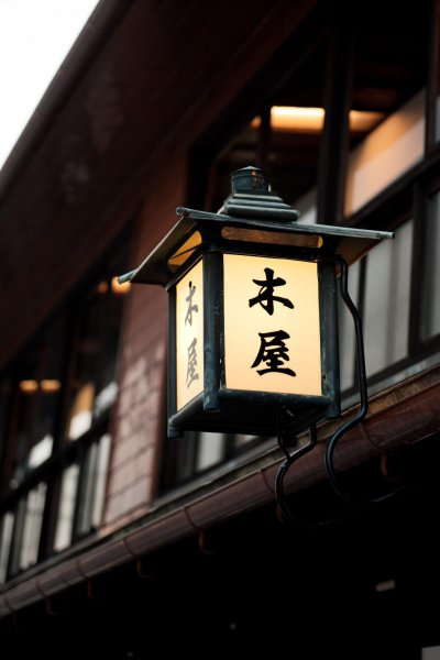 The original lantern outside Kiya Ryokan in Uwajima