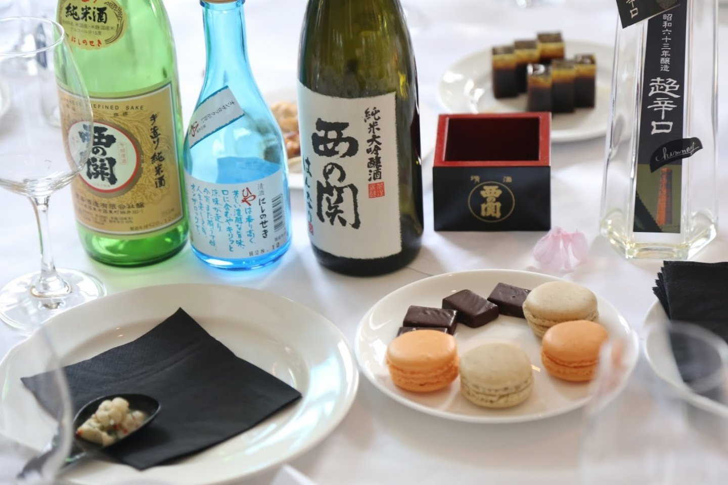A selection of sake and sweets
