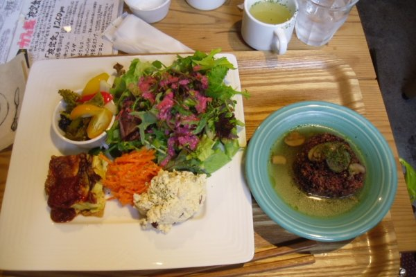 The colourful, vegetarian lunch plate, which comes with dessert