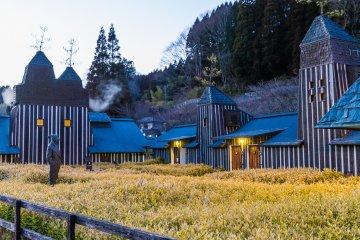Ramune Onsen courtyard at dusk