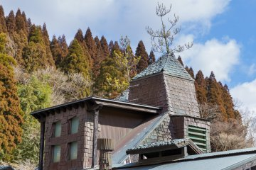 Pointy roofs with living trees at Ramune Onsen