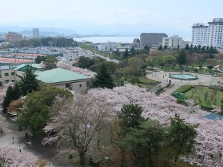 From left to right: tennis courts, musical fountain, Nagahama Royal hotel