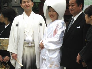 Traditional Japanese wedding can be often seen in Asakusa