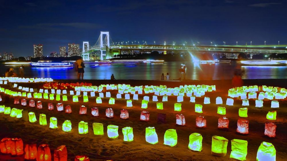 Beautiful lanterns in Odaiba during Ocean Day in July