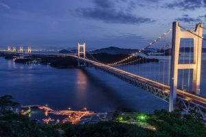 The Seto Ohashi Bridge is lit up every Saturday night and on special days of the year