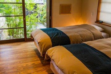 The bedroom even has views of the garden