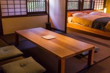 The Japanese room has beautiful dark tatami mats