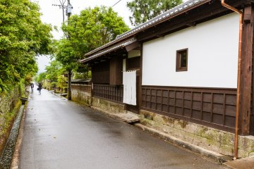 The gate-house's exterior and quiet street
