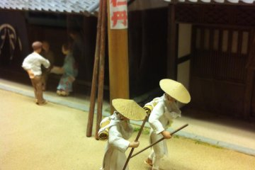 A diorama in one of the little museums in Uwa depicting Shikoku pilgrims
