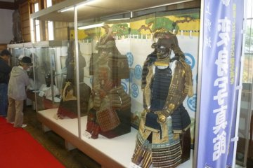 The castle features a fine collection of samurai helmets and armor