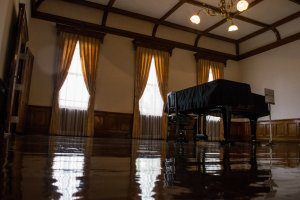 The piano in the concert hall.