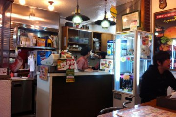 The interior of the burger shop