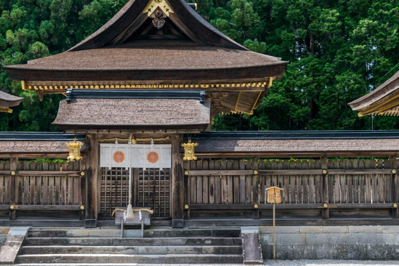 "Kumano Hongu Taisha, one of the ""Kumano Sanzan"" (the three grand shrines of Kumano). This temple was the ultimate goal for many pilgrims in the past, and is the ultimate goal for many walkers today."