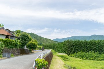 A number of quiet villages dot the route to Kumano Hongu Taisha, offering a splendid view with the backdrop of the Kumano Mountains.