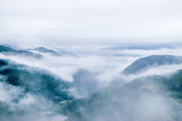 Looking down on the misty Kumano mountains on the Takijiri-oji to Takahara leg of the Nakahechi trail.