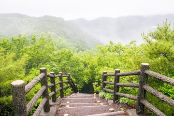 The Kumano Kodo features strenuous, sharp climbs, but with the reward of the occasional beautiful break in the trees.