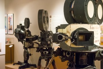 Cameras on display at the Nihon Eiga: The History of Japanese Film exhibit, at the National Film Center.