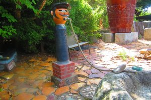 A whimsical waterspout at Fukuda Kiln